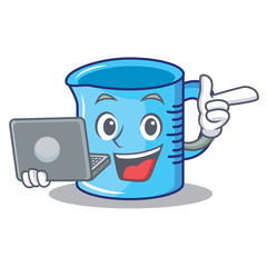 With laptop measuring cup character cartoon