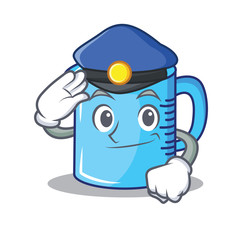 Police measuring cup character cartoon