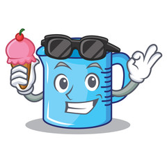 With ice cream measuring cup character cartoon
