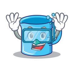 Diving measuring cup character cartoon