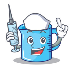 Nurse measuring cup character cartoon
