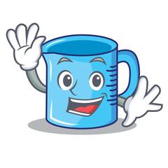 Waving measuring cup character cartoon
