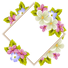 Floral frame of several flowers and leaves. For design of cards, invitations, posters, banners, greeting for birthday, Valentine's day, wedding, celebration.