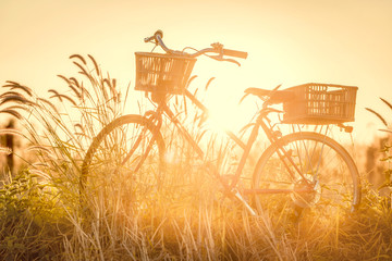 beautiful landscape image with bicycle at sunset ; vintage filter style
