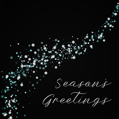 Season's Greetings greeting card. Beautiful falling snow background. Beautiful falling snow on black background.lovely vector illustration.