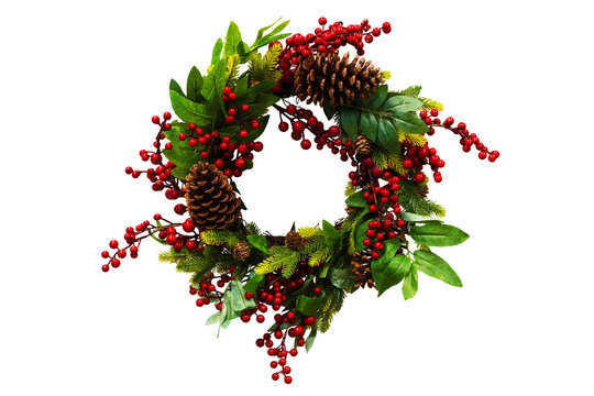 Christmas wreath of cones, spruce branches and berries, New Year's decorations. Isolated, white background.