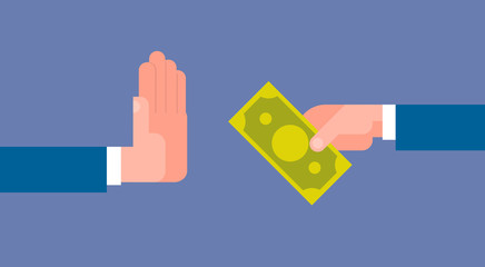 Stop Corruption Concept Hand Giving Business Man Money Flat Vector Illustration