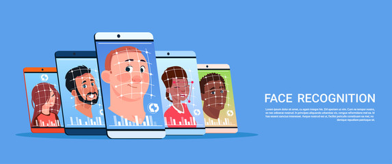 Biometric Scanning Of User Face Recognition System Concept Modern Smart Phone Access Control Technology Flat Vector Illustration
