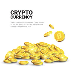 Heap Of Golden Bitcoins Over Template White Background With Copy Space Modern Digital Crypto Currency Concept Vector Illustration