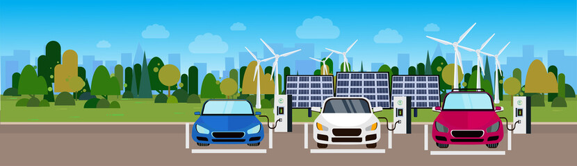 Electric Cars Charging At Station From Wind Trurbines And Solar Panel Batteries Eco Friendly Vechicle Concept Horizontal Banner Flat Vectro Illustration