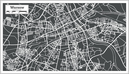 Warsaw Poland Map in Retro Style.