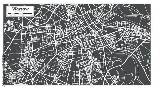 Warsaw Poland Map in Retro Style.\