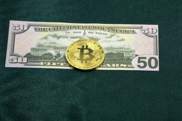 bitcoin vs dollar. money concept. clsoe up