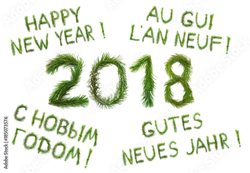 2018 New Year. Two thousand eighteen. Сongratulation words Happy New ...
