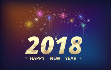 2018 Happy new year background. Celebration firework design. simple firework decoration. vector illustration.