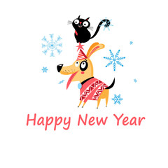 New Years bright postcard with a cat and a dog