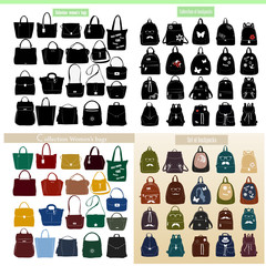 Large collection of women's bags and backpacks