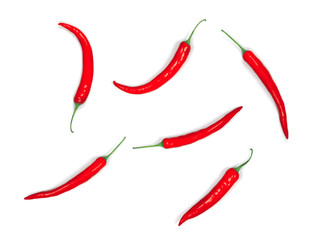 red hot chilli pepper isolated on white background, flat lay, top view