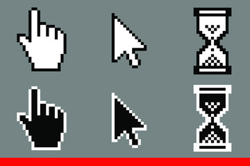 Black and white arrow pixel, pixel mouse hand and hourglasses cursors icon vector illustration set