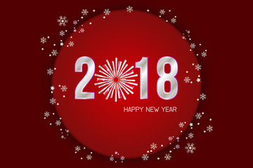 Happy New Year 2018, holiday celebration concept. illustration vector.