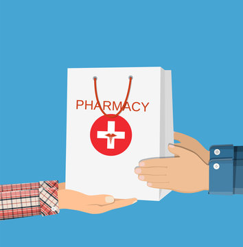 White shopping bag for medical pills