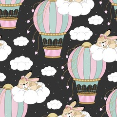 Seamless pattern with romantic bunnies. valentine's day. Vector illustration.