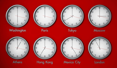 Modern wall clocks showing different time zones of world cities. 3D illustration