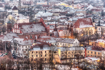 Vilnius, Lithuania: aerial view of the old town at winter sunset