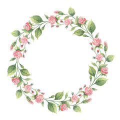 Watercolor vector wreath of green branches and flowers roses.