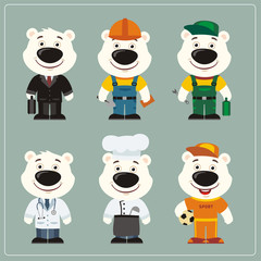 Set of polar bear in different costumes: builder, sportsman, worker, a doctor, manager, cook. Collection of polar bear in clothes in cartoon style.