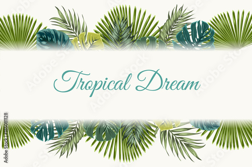 exotic tropical jungle rainforest bright green turquoise palm tree
