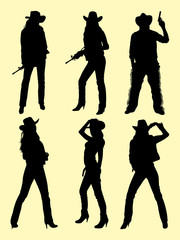 Cowboy & cowgirl silhouette 01. Good use for symbol, logo, web icon, mascot, sign, or any design you want.