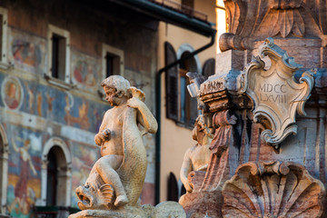 Close view of fountain of Neptune in Trento, Italy