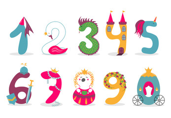 Funny vector cute princess numbers. Colorful numbers for mathematics and kids illustration.