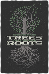 """Vintage hand drawn illustration of tree with leaves and roots. With text lettering composition """"Storms make trees take deeper roots"""""""