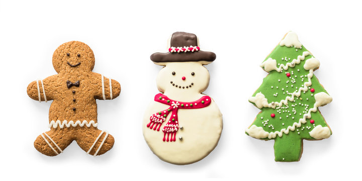 Christmas cookies, snowman, X'mas tree, gingerbread isolated on white background with clipping path for Xmas party holiday homemade  food design decoration template