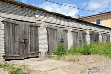 Old garages of the motor transportation enterprise. Gvardeysk, Kaliningrad region