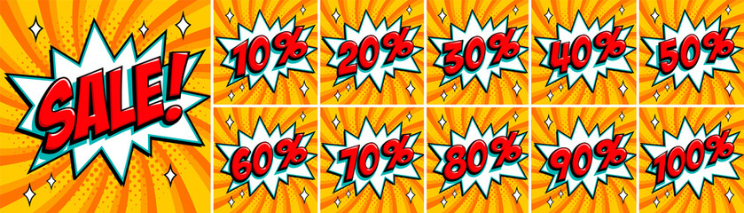 Big orange color sale set. Sale inscription and all percent numbers. orange and red colors. Pop-art comics style web banners, flash animation, stickers, tags.