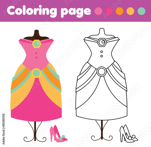 Coloring Page With Fashion Dress And Shoes Drawing Kids Game Printable Activity