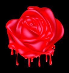 abstract liquid red rose