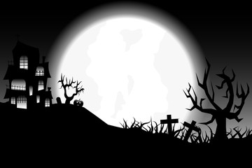 halloween day theme with pumpkin ghost tomb and haunted house.vector and illustration