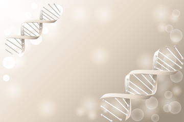 DNA sequence, DNA code structure with glow. Science concept background. Nano technology.  illustration, gray background with space for text
