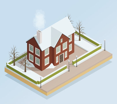 Winter House Outdoor Isometric View