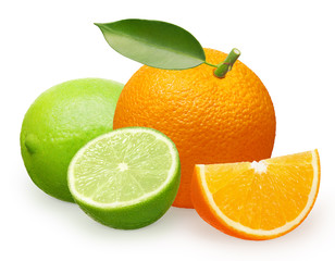 Orange fruit with green leaf, slice and lime with half