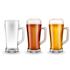 Three Transparent Glass Beer Mugs