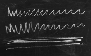 Zig zag lines symbol, sign on chalkboard, blackboard texture