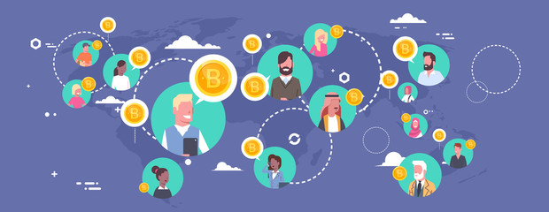 People Buying Bitcoins Over World Map Modern Digital Money Network Crypto Currency Concept Vector Illustration