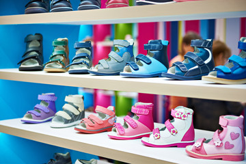 Child summer shoes in store