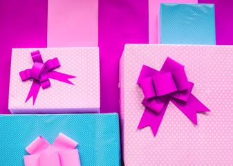 celebration concept the purple gift box .