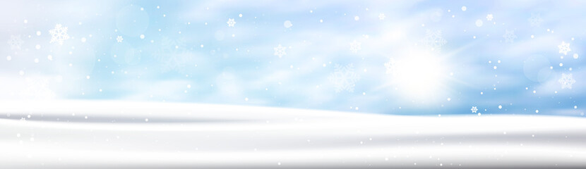 Winter Background Horizontal Banner Snow White Landscape Blue Sky Snowfall Flat Vector Illustration
